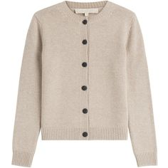 Vanessa Bruno Wool-Cashmere Cardigan (€485) ❤ liked on Polyvore featuring tops, cardigans, outerwear, sweaters, beige, slim fit cardigan, beige top, vanessa bruno top, cardigan top and button front top