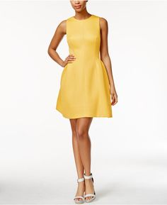 Calvin Klein Sleeveless Textured Fit & Flare Dress - comes in Royal Blue also. Review Dresses, Petite Dresses, Calvin Klein Dress, Fit Flare Dress, Yellow Dress, Spring Summer Fashion, Dresses Online, Dress Outfits, Clothes For Women
