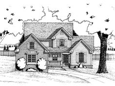 Farmhouse Plan Front of Home 026D-0140  from houseplansandmore.com    Like front, but not floorplan...