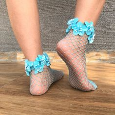 Bring to life your floral fantasies with these hand-crafted, jewelled, pearl encrusted fishnet socks Fishnet Socks, Sheer Socks, Socks And Heels, Prom Outfits, Pin Up Outfits, Heels Outfits, Thigh High Socks, Ankle Socks, Thigh Highs