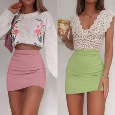 Which would you wear? left or right?  by @fashioninflux Special Occasion Dresses, High Waisted Skirt, Fashion Show, Mini Skirts, How To Wear, Collection, Black, High Waist Skirt, Black People