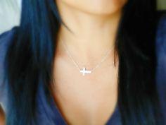 Sterling Silver Sideways Cross Necklace. $36.00, via Etsy.