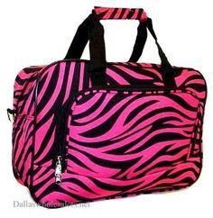 Hot Pink Zebra Overnight Travel Bag