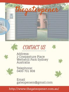 For more information visit our Website http://www.thegateopener.com.au/