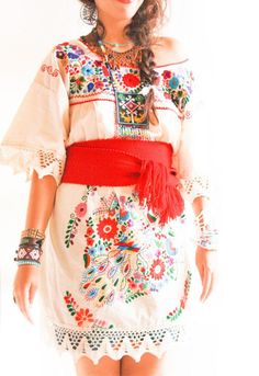 Vintage Romantic crochet lace Mexican dress peacock embroidered wedding fiesta. $198.00, via Etsy.