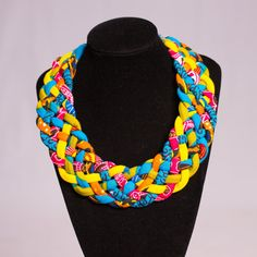 Woven African Print Necklace Multi strand by AfrogenicCollections