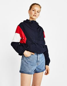 Jacket with pouch pocket - Jackets - Bershka United States Fashion Models, Fashion Beauty, Womens Fashion, Shooting Clothing, Diy Clothes, Clothes For Women, Athleisure, Sportswear, Rain Jacket