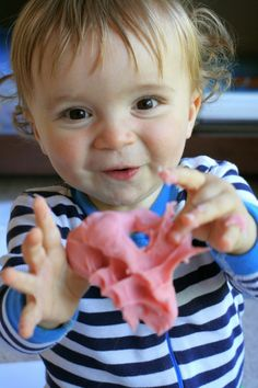 Introducing Playdough to Babies and Toddlers from Fun at Home with Kids