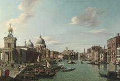 English Follower of Canaletto, late 18th Century VENICE, THE ENTRANCE TO THE GRAND CANAL LOOKING WEST