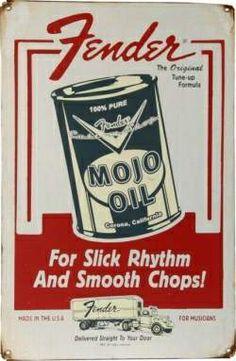 Vintage Fender Metal Sign, Mojo Oil