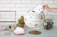 40 Useful Globe Art Projects to Restore Old Globes - Neue Ideen Old Globe, Globe Art, Painted Globe, Honeymoon Fund, Honeymoon Shower, Honeymoon Clothes, Practical Wedding, Card Box Wedding, Wedding Box For Money