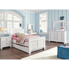 With the vintage white painted finish over a replicated wood grain along with the Press technology of the case tops and drawers fronts creating a rounded durable edge, the Iseydona Youth Bedroom Set by Signature Design by Ashley Furniture beautifully c Bookcase Bed, Bookcase Storage, Bed Storage, Bedroom Storage, Kids Bedroom Sets, Bedroom Furniture Sets, Bedroom Decor, Kids Rooms, Childrens Bedroom
