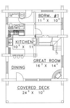 Cabin Plans With Loft, Loft Floor Plans, Small Cabin Plans, House Plan With Loft, Cabin Loft, Loft Plan, Cabin House Plans, Small House Plans, House Floor Plans