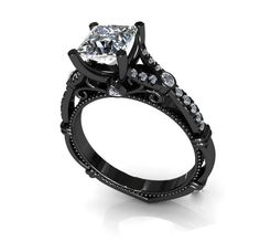 5J, black gold and diamond ring (no less than 4 carats)