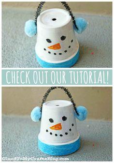 Terra Cotta Pot Snowman - Kid Craft Idea For Winter Winter Art Projects, Winter Crafts For Kids, Summer Crafts, Crafts For Teens, K Crafts, Snowman Crafts, Preschool Crafts, Snowman Party, Craft Activities For Kids