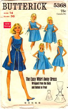 negli anni ' 60 cartamodelli 5368 vortice abito lontano modello Wrap Dress Scoop Neck Womens Vintage cucito modello dimensioni 14 Busto 36