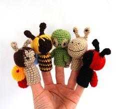 marioneta de dedo jardín ganchillo abeja mariquita por crochAndi