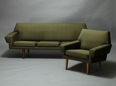 Danish Modern Sofa Chair Set Mid Century Modern   eBay. Great bones, but $2,800 for something that admittedly needs re-upholstering?