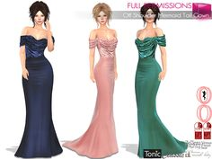 8d95e943a Second Life Marketplace - SAVE ALL BODIES FULL PERM Off Shoulder Mermaid  Tail Gown Maitreya,