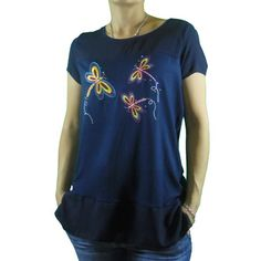 camiseta mujer bordado libélula