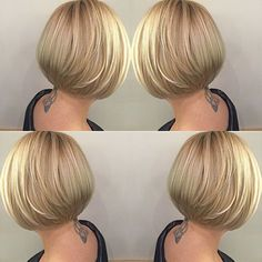 100 Mind-Blowing Short Hairstyles for Fine Hair Sleek Stacked Golden Bob Bobs For Thin Hair, Short Thin Hair, Short Hairstyles For Thick Hair, Short Bob Haircuts, Curly Hair Styles, Straight Hair, Medium Hairstyles, Braided Hairstyles, Layered Haircuts