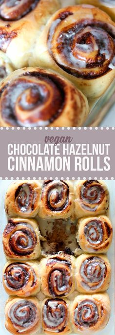 Moist, fluffy, sweet, drool-worthy VEGAN chocolate hazelnut cinnamon rolls!