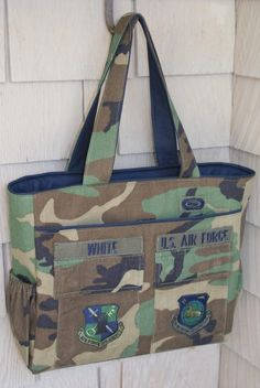 This is a great idea for my husband's old green camo and desert camo army BDUs (I don't think I would leave the name tag though)- a book bag or tote!  #Tote #DIY #Bags