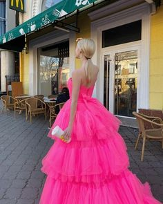 Princess A Line High Low Strapless Pink Long Prom/Evening Dress Ruffle – classygown