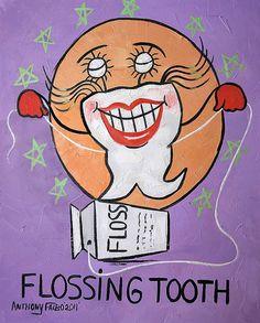 Flossing Teeth Origial Dental Art Painting Dentist by falboart