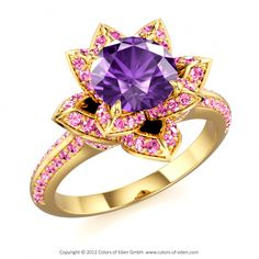 "Lotus Ring with Amethyst in Yellow Gold - ""Lotus Blossom Royal"" My Birthstone, Birthstone Jewelry, Purple Amethyst, Blue Sapphire, Lotus Ring, Fine Jewelry, Jewelry Box, Jewellery, Diamond Girl"