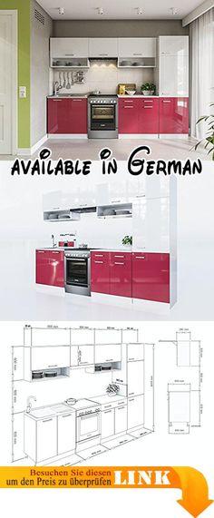 B077G8KQ2V  ELDORADO-MÖBEL KÜCHE LUX 240 CM ROT KÜCHENZEILE - küchenzeile 160 cm