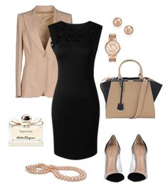 """""""Stylish Work Outfit"""" by bla-bla-moda ❤ liked on Polyvore featuring Emilio Pucci, Fendi, Bloomingdale's, Michael Kors, Gianvito Rossi, Salvatore Ferragamo, WorkWear and outfit"""
