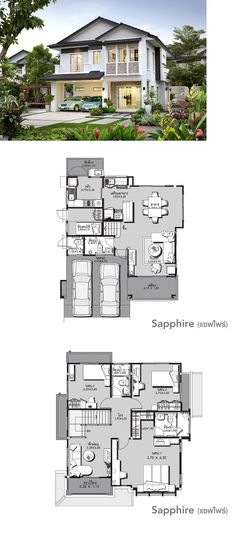 LAND AND HOUSES Modern House Plans, House Floor Plans, Cool House Designs, Modern House Design, 2 Storey House Design, Villa Design, Sims House, House Layouts, Architecture Plan