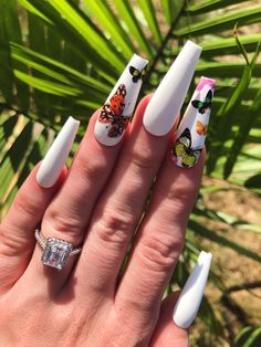 Baby Butterfly Nail Set in 2020 Pink Glitter Nails, White Acrylic Nails, Summer Acrylic Nails, Best Acrylic Nails, Matte White Nails, White Coffin Nails, White Acrylics, Nails Polish, Aycrlic Nails