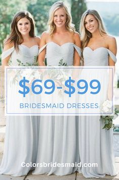 Cheap bridesmaid dresses $69-99 in 150+ colors and 500+ styles are custom made to all sizes including plus size. Great for weddings in spring, summer, fall and winter.