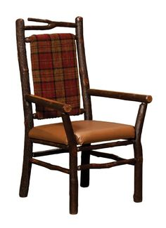 Amish Rustic Branch Chair with Upholstered Back and Seat
