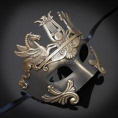 Men's Masquerade Mask, Roman Mask, Masquerade Ball Mask, Men's Mask, Sun God Dance Mask - Dark Gold Mens Masquerade Mask, Venetian Masquerade Masks, Masquerade Ball, Butterfly Mask, Steampunk Gears, Steampunk Accessories, Antique Perfume Bottles, Medieval Art, Paint Designs