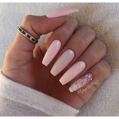 pastel pink with sparkle accent pinky ballerina nails