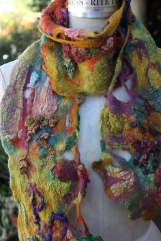 felted scarf with repurposed items How did she do this???  Beautiful, love wearable art.