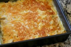 Bisquick Creamy Chicken Casserole... We had this for dinner tonight. It reminded me of a chicken pie, minus the veggies. It was easy and delicious. I only made a few changes... I used a rotisserie chicken that was precooked. I used about 1/2 the amount of cheese and I didn't have cornmeal, so I replaced that with the Bisquick. Will definitely make it again!