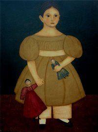 Primitive Folk Art Girl with Dolls Portrait