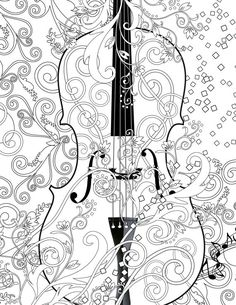Juleez Violin Adult Coloring Page, Printable Violin FREE Coloring Poster, Line Art Instant Download by Juleez Scroll Violin  Coloring books have