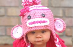 Pink sock monkey hat!