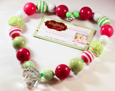Pink and Green Kids Chunky Necklace Birthday  by ittybittylydi, $21.99