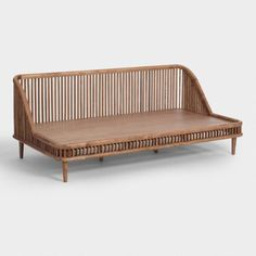 Create a comfy guest room or living space with organic-modern appeal with our Nadya daybed. A solid mango wood frame with an eye-catching railing in a warm-brown finish give this piece a sense of timeless style. My Living Room, Living Room Furniture, Living Room Decor, Living Spaces, Small Living, Space Furniture, Modern Living, Daybed Couch, Daybed Room