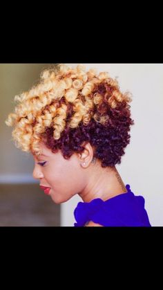 Blonde highlights and lowlights on natural hair curls.   Colour ...