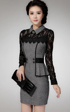 Aliexpress.com : Buy FREE SHIPPING New Plus Size Fashion Elegant Lace Patchwork Long Sleeve Bodycon Dresses 2014 Winter Women Formal Office Dress from Reliable dress up modern princess suppliers on BEST SHOW ( Drop Shipping ). | Alibaba Group