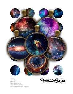 Digital Collage Sheet - Space, Universe, Cosmos, Galaxy, Planets - Instant Download 20mm, 25mm, 30mm Printable Images For Jewellery Making