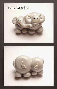 """""""A Mother's Love - Elephants"""" by Heather Sellers, lampwork glass bead artist and designer.  Special thanks to Donna @ CG Beadroller!"""