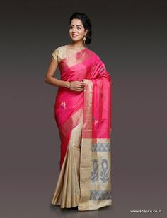 The uniqueness of Anushka Pink and Cream Uppada Silk Saree is that the richness of a rich texture as that of Uppada soft silk is brought out notably just as it aids and accentuates the beauty of color pink. Indian Silk Sarees, Soft Silk Sarees, Cotton Sarees Online, Buy Sarees Online, Sari, Saree Blouse, Traditional Silk Saree, Handloom Saree, Beautiful Saree